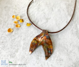 Mermaid Tail Flame Painted Copper Necklace