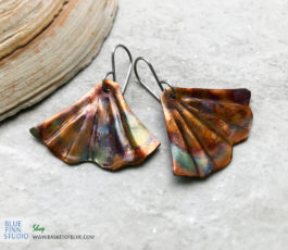 Mermaid tail (or Ginkgo) flamed copper earrings