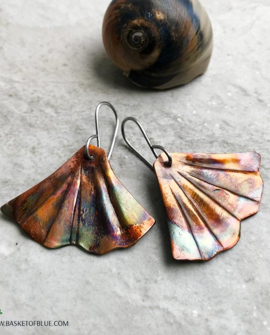 Mermaid tail (or Ginkgo) flamed copper earrings