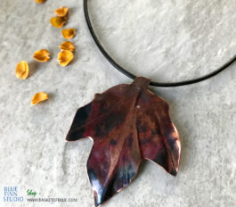 Copper Maple Leaf Necklace fire Patina