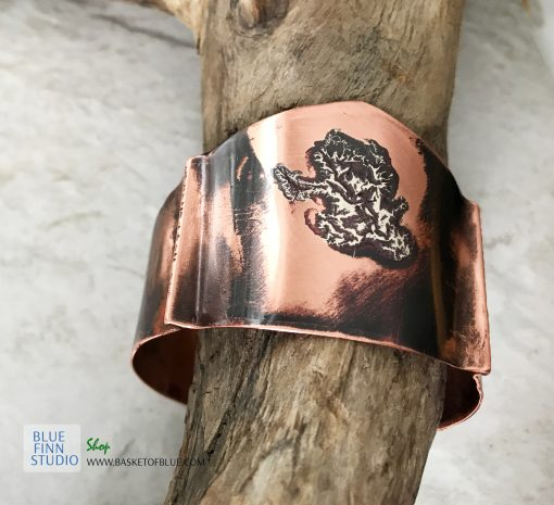 mixed metal artisan viking cuff bracelet