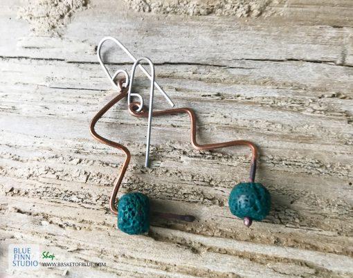 Copper lava bead twist earrings