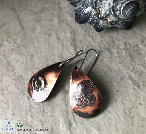 mixed metal copper and silver rustic patina earrings
