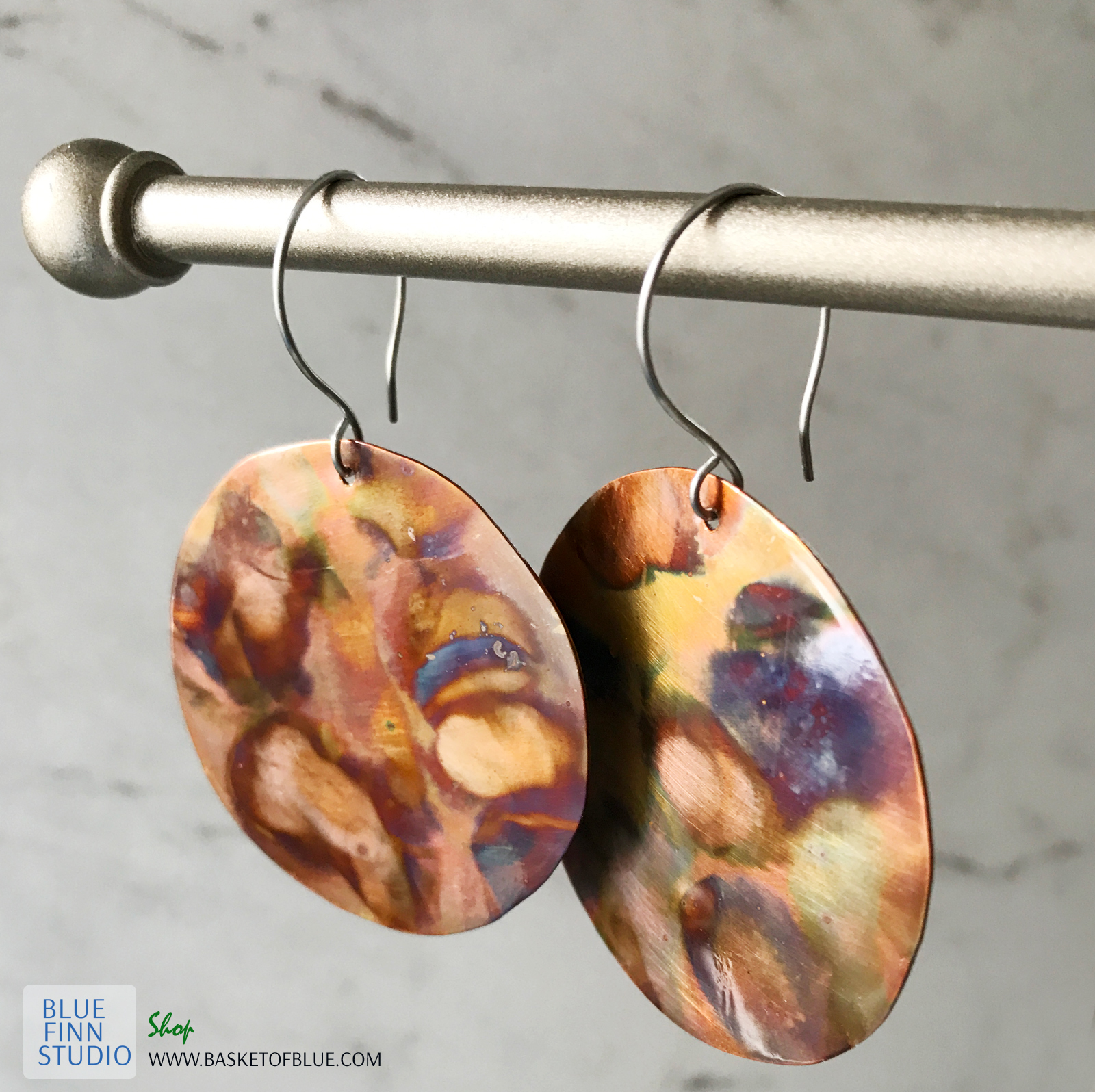 Round Copper Flame Painted Earrings