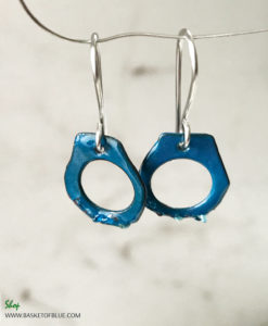 Blue Enamel Handcuff Earrings