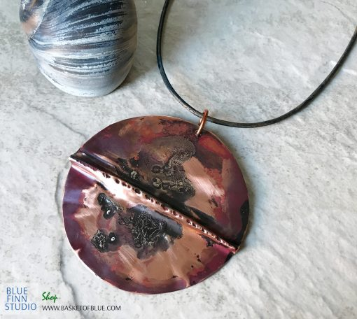Mixed metal Large Round Artisan Copper Necklace