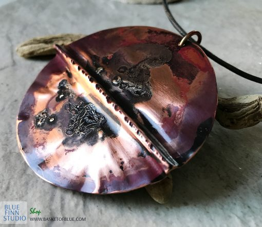 Mixed metal Large Round Copper Necklace