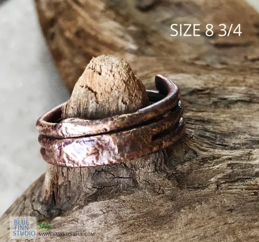 viking style copper and fused silver mixed metal ring