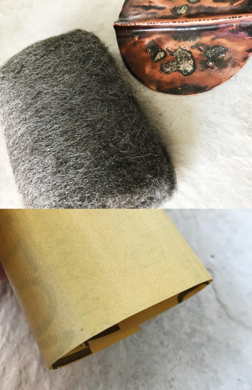 steel wool and sandpaper to clean copper