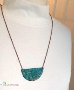 Patina Moon Verdigris Necklace