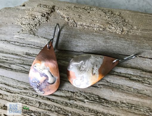 mixed metal copper earrings