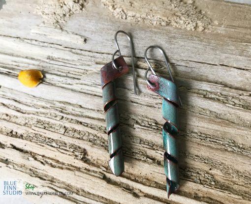 green enamel twist corkscrew earrings