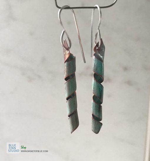 green enamel twist earrings