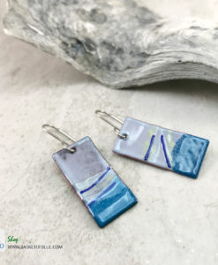 blue wave earrings - torch enameled artisan copper