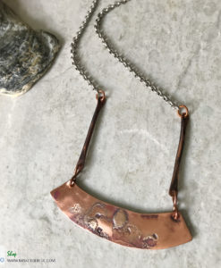 mixed metal bar necklace copper and silver