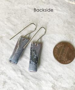 Blue enamel tube earrings