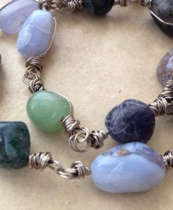 blue gemstone rustic bracelet