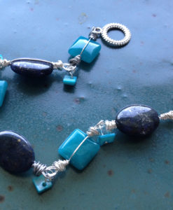 Blue bead - jasper and candy jade bracelet
