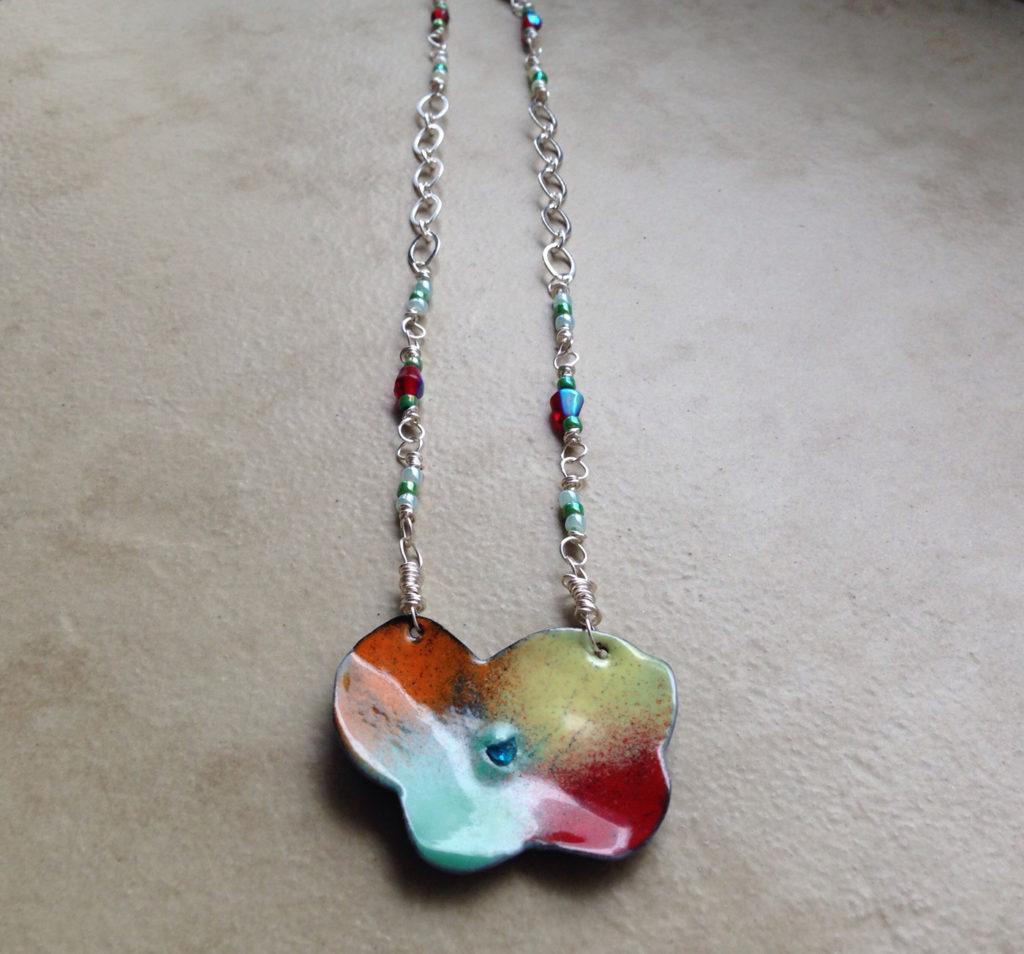 enameled poppy flower necklace