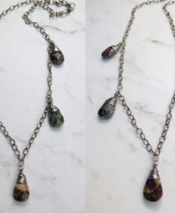 Green Earthy Stone Ruby in Fuchsite Boho Necklace