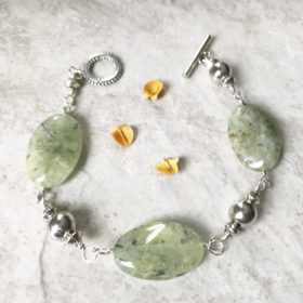 prehnite bracelet - greem luminous gemstone and pewter bracelet