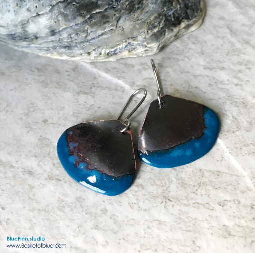 Blue Rustic Enameled Copper Shell