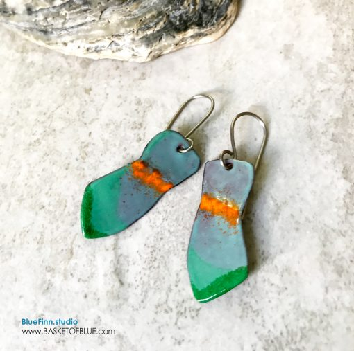 aqua green enamel art earrings