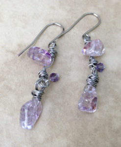 Ice flake quartz earrings