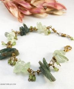 Green Kyanite and Prehnite bracelet