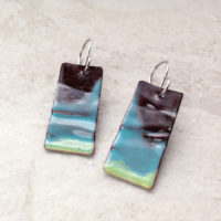 Aqua Blue Green Geometric Enameled Copper Earrings