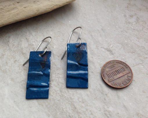 Peacock Blue Rustic Rectangle Earrings