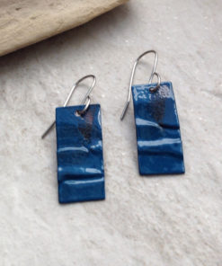 Peacock Blue Rustic Rectangle Earrings