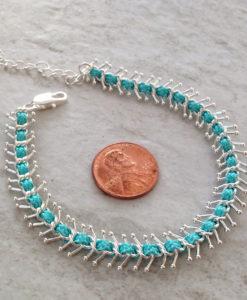 Fashion Turquoise Blue and Silver Fishbone Bracelet