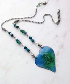 Blue Green Enamel Heart Necklace