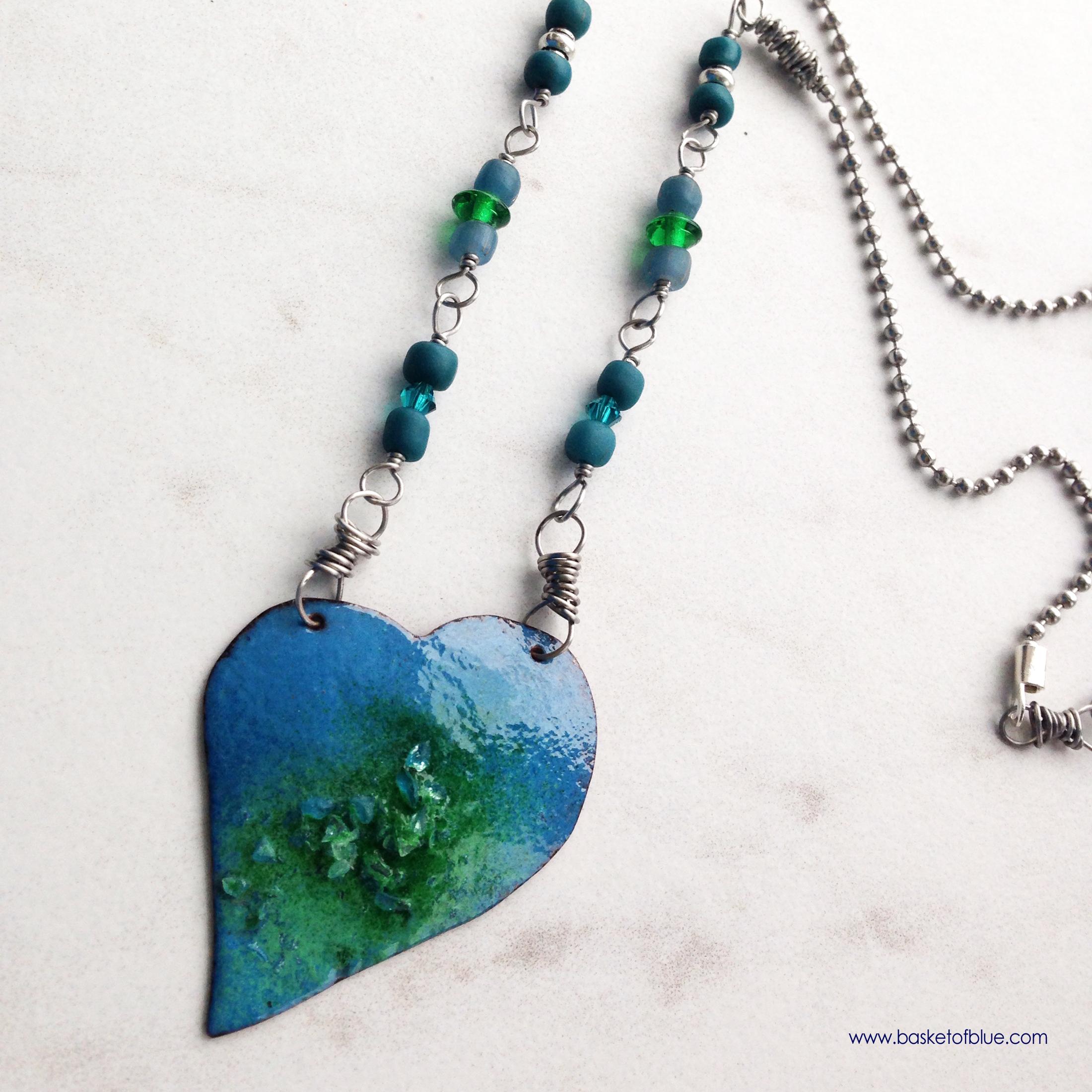 Blue Green Enamel Heart Necklace