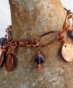 Copper Link Coin Charm Dangle Bracelet
