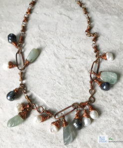 copper aquamarine pearl dangle necklace