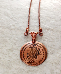 Copper Disc Coin Pendant Goddess Helvetia