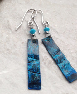 Blue Patina Copper Dangle Earrings w Swarovski Crystal