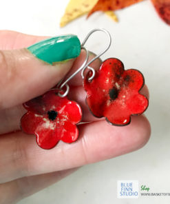 red enamel flower earrings