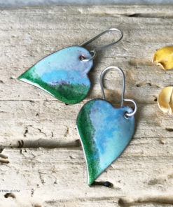 blue green enamel heart earrings