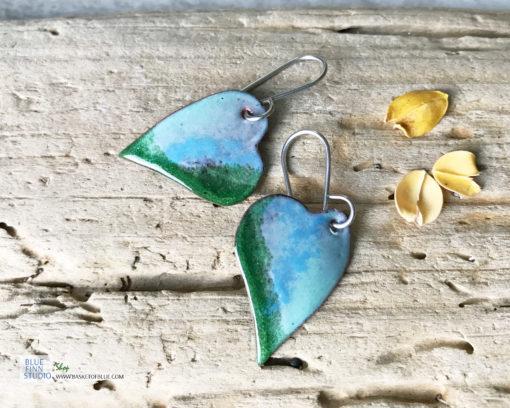 blue green enamel heart earrings