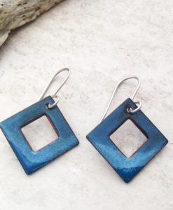Blue Diamond Enamel Earrings