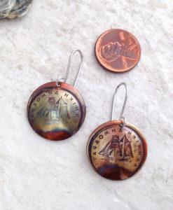 Greek Coin Copper Ship Earrings