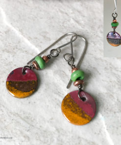 rustic burnt orange enamel round dangle