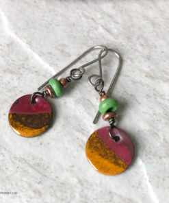 orange enamel round dangle earrings