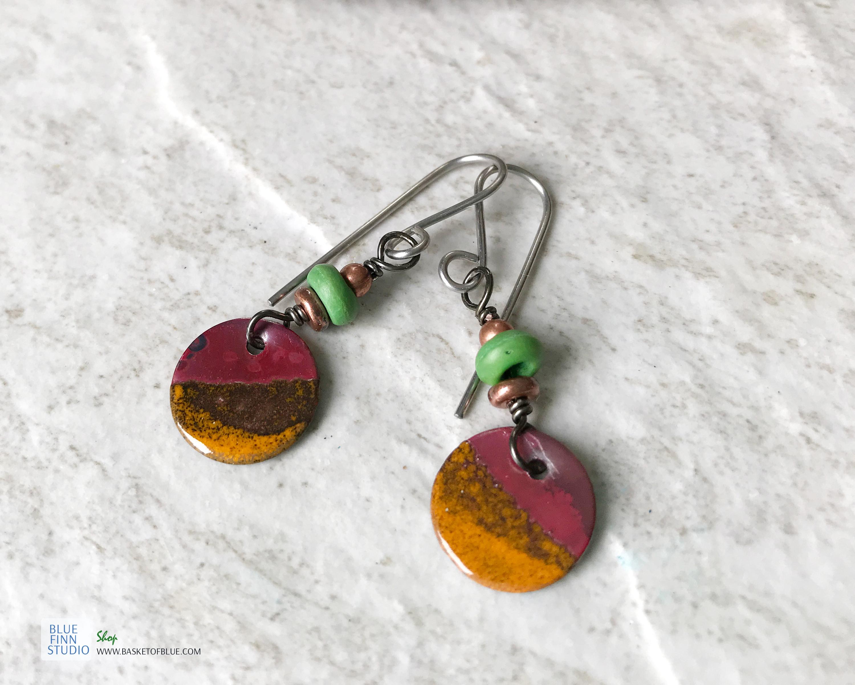 orange enamel round dangle earrings