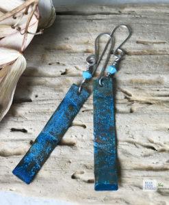 Copper blue patina long rectangle earrings