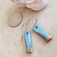 Blue Green Enamel Tube Earrings