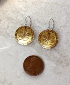 Brass Coin Earrings with Oak Tree Stamping